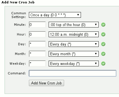 add new cron job panel on cPanel