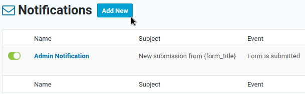 Add a notification email to a form