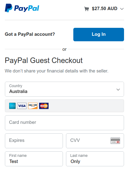 PayPal Standard with the Billing landing page