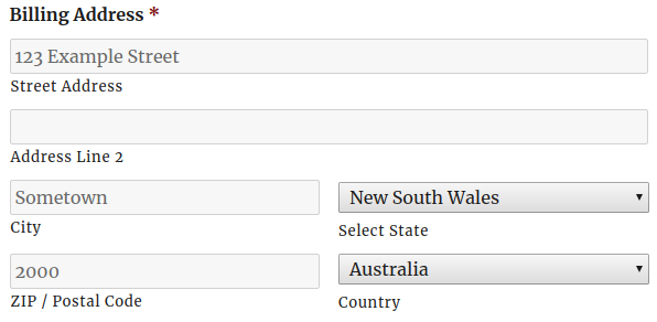 An Address field as it shows in the form