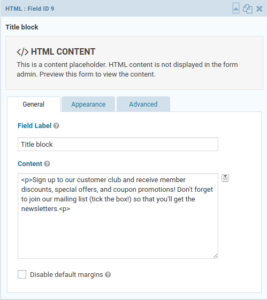 HTML field with form instructions