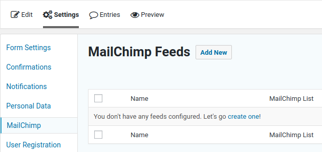Create a new Mailchimp feed