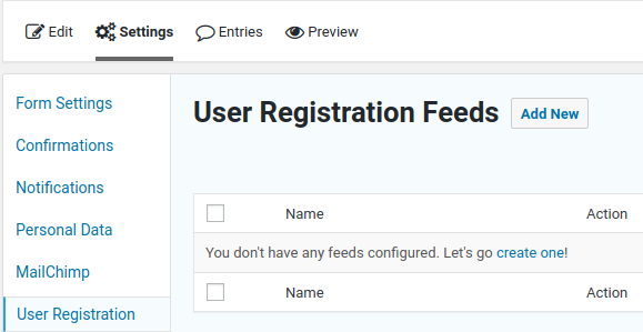Create a new User Registration feed