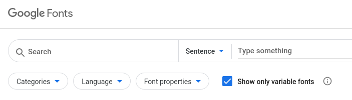 Google Webfonts search with variable fonts option ticked